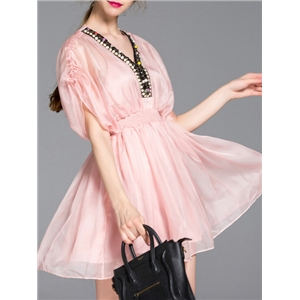 Pink V Neck Beading Sheer A-Line Dress