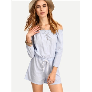 Off-The-Shoulder Drawstring Waist Romper
