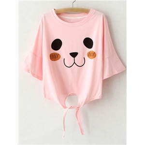 Pink Bell Sleeve Self-tie Bow Print T-shirt
