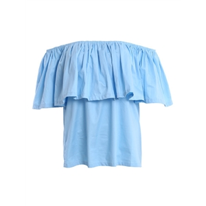 Blue Ruffled Off-The-Shoulder Top