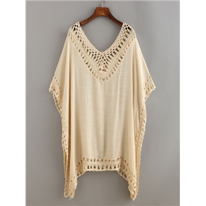 Crochet Trimmed Poncho Blouse
