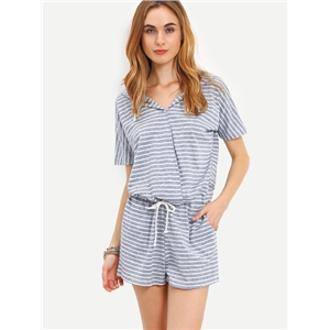 Striped Drawstring Waist Hooded Romper