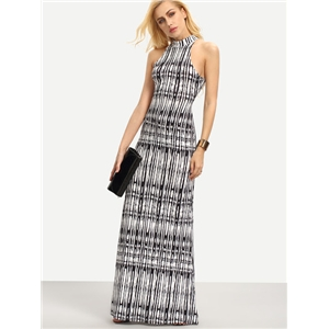 Halter Neck Cutout Back Maxi Dress