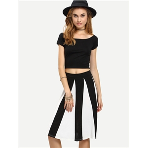 Self-Tie Crop T-shirt With Striped Skirt