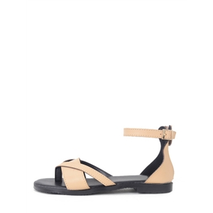 Apricot Faux Leather Ankle Strap Gladiator Sandals