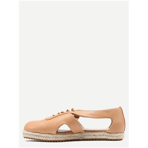 Apricot Lace Up Cut Out Flats