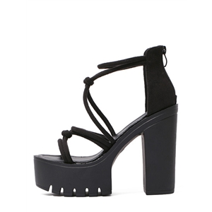 Black Open Toe Strappy Chunky Sandals