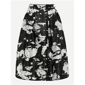 Black White Abstract Print Box Pleated Midi Skirt