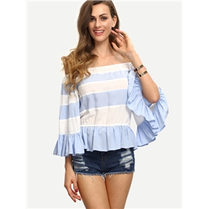 Multicolor Striped Off The Shoulder Ruffle Blouse