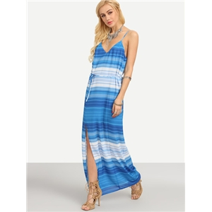 Double V-Neck Ombre Striped Slit Cami Dress - Blue