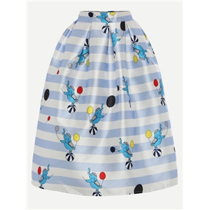 Multicolor Elephant & Print Striped Box Pleated Midi Skirt