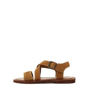 Brown Peep Toe Hollow Crisscross Sandals