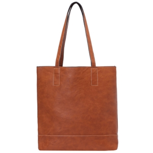 PU shoulder bag with drawstring brown
