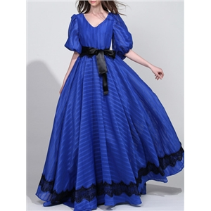 Blue V Neck Tie-Waist Maxi Dress