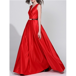 Red V Neck Backless Belted Maxi Dress