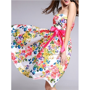 White Strapless Backless Tie-Waist Floral Dress