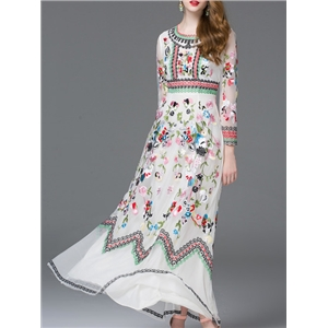 White Sheer Embroidered Gauze Maxi Dress