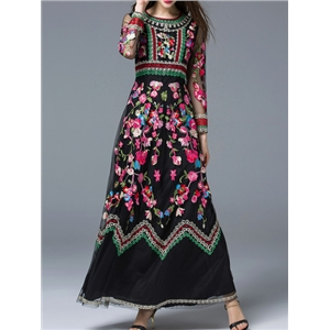 Black Sheer Embroidered Gauze Maxi Dress
