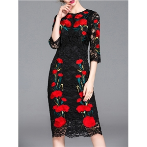 Black Crew Neck Embroidered Lace Sheath Dress