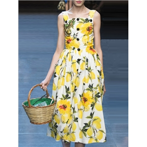 Yellow Spaghetti Strap Sleeveless Print Dress