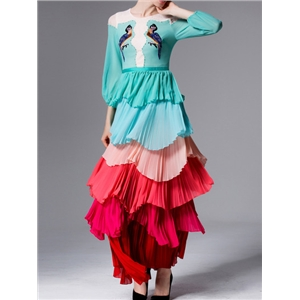 Green Color Block Ruffle Embroidered Maxi Dress