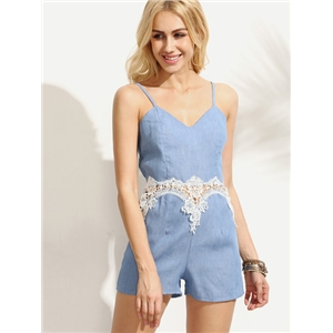 Appliques Hollow Out  Spaghetti Strap Blue Romper