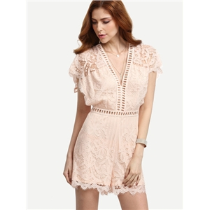 Pink V-neck Batwing Sleeve Hollow Lace Jumpsuit