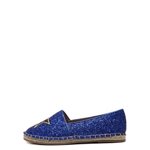 Royal Blue Round Toe Embroidered Star Slip-on Flats