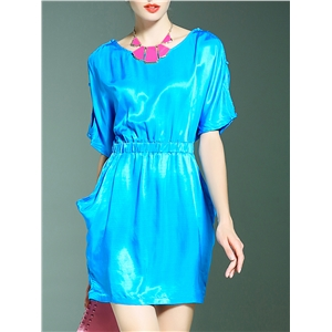Blue Necklace Elastic-Waist Pockets Dress