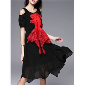 Black Backless Fish Embroidered Applique Asymmetric Dress