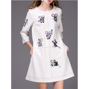 White Mouse Sequined Embroidered Shift Dress