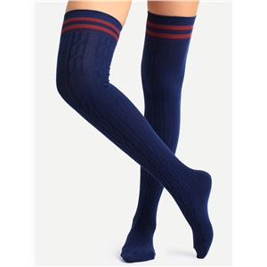 Navy Striped Trim Over Knee Socks