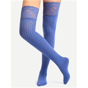 Blue Non-slip Lace Over Knee Socks