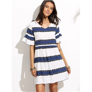 V Neck Ruffle Sleeve Striped Dress