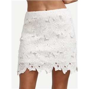 White Sexy Crochet Mini Skirt