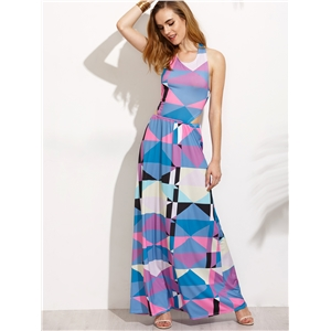 Blue Geometric Print Cutout Tie Back Maxi Dress