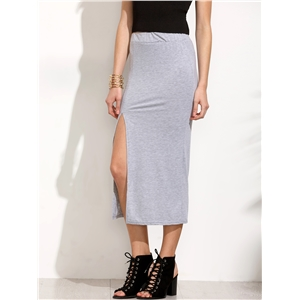 Grey Slit Jersey Skirt