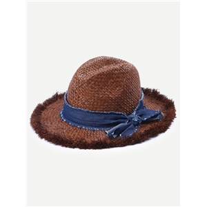 Coffee Vacation Adjustable Bow Trim Fedora Hat
