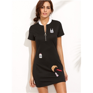 Black Crew Neck Embroidery Zipper Dress