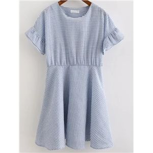 Blue Stripe Ruffle Cuff Pleated Dress