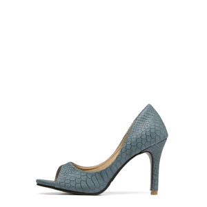 Dark Blue Snakeskin Mule Stiletto Heels
