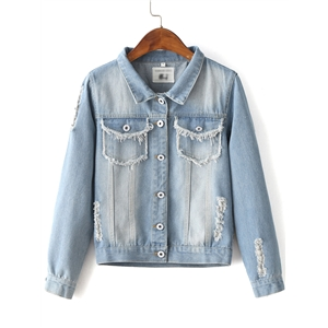 Blue Lapel Embroidery Back Button Jacket