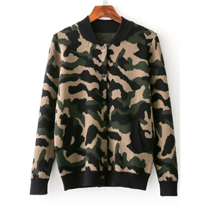 Camouflage Buttons Front Knit Jacket