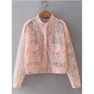 Pink Embroidery Button Front Sheer Jacket