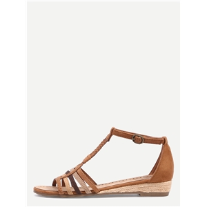 Faux Suede Caged T-Strap Sandals - Camel