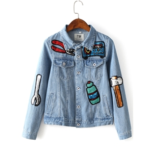 Light Blue Button Front Sequined Jacket