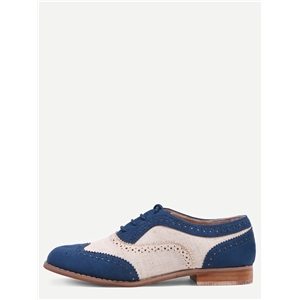Contrast Faux Suede Oxford Flats - Navy
