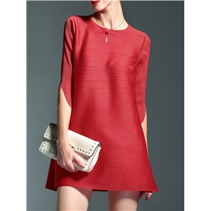 Red Crew Neck Pleated Elastic dress