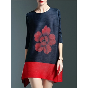 Navy Red Print Pleated Elastic Shift Dress