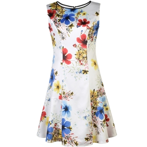 Multicolor Crew Neck Floral A-Line Dress